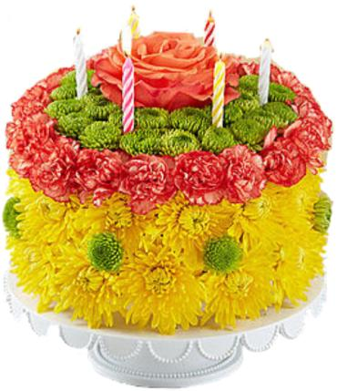 Birthday Wishes Flower Cake Yellow Conroy S Flowers