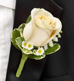 Rose Boutonniere, White