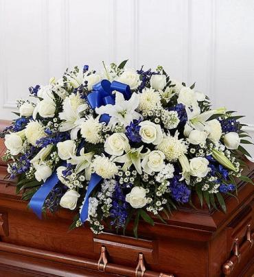 Traditional Casket Spray - Blue and White