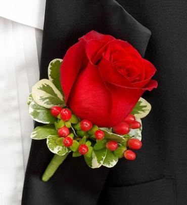Rose Boutonniere, Red
