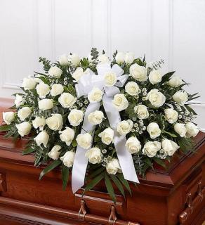 Rose Casket Spray - White