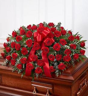 Rose Casket Spray - Red