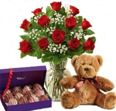 12 Premium Roses W/ berries & Plush™