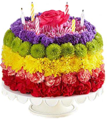 Birthday Wishes Flower Cake™ Rainbow